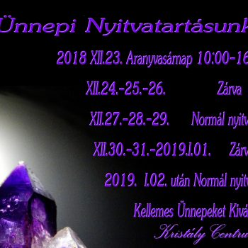 Ünnepi nyitvatartás 2018-2019